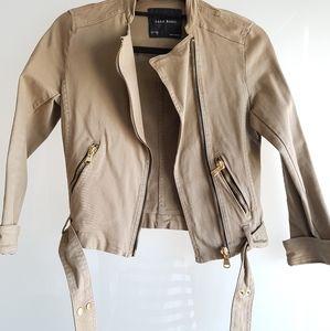 ZARA asymmetrical zip jacket in military green